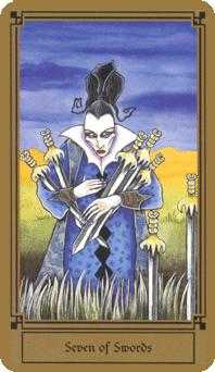 Seven of Arrows Tarot Card - Fantastical Tarot Deck