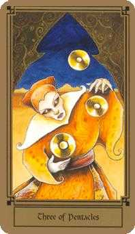 Three of Discs Tarot Card - Fantastical Tarot Deck