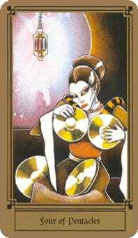 Four of Discs Tarot Card - Fantastical Tarot Deck