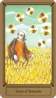 Seven of Coins Tarot Card - Fantastical Tarot Deck