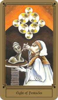 Eight of Pentacles Tarot Card - Fantastical Tarot Deck