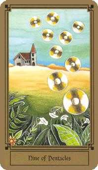 Nine of Coins Tarot Card - Fantastical Tarot Deck