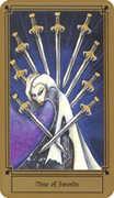 Nine of Swords Tarot card in Fantastical Tarot deck