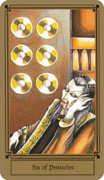 Six of Coins Tarot card in Fantastical Tarot deck