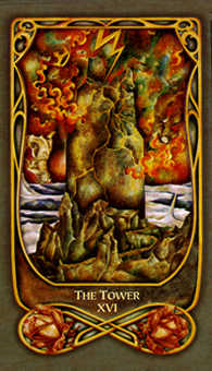 The Blasted Tower Tarot Card - Fenestra Tarot Deck