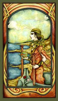 Two of Pipes Tarot Card - Fenestra Tarot Deck