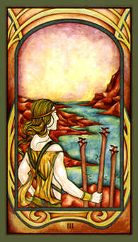 Three of Batons Tarot Card - Fenestra Tarot Deck