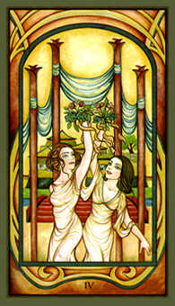 Four of Batons Tarot Card - Fenestra Tarot Deck