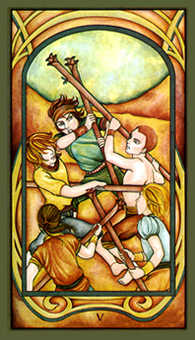Five of Batons Tarot Card - Fenestra Tarot Deck