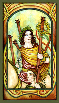 Six of Pipes Tarot Card - Fenestra Tarot Deck