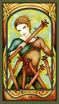 Seven of Rods Tarot Card - Fenestra Tarot Deck