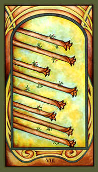 Eight of Rods Tarot Card - Fenestra Tarot Deck