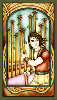 Nine of Fire Tarot Card - Fenestra Tarot Deck