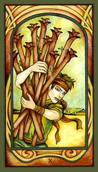 Ten of Staves Tarot Card - Fenestra Tarot Deck