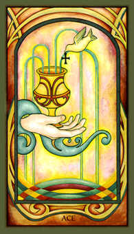 Ace of Bowls Tarot Card - Fenestra Tarot Deck
