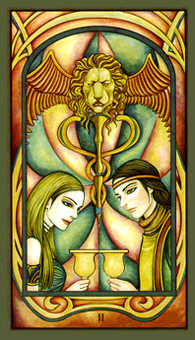 Two of Hearts Tarot Card - Fenestra Tarot Deck