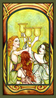Three of Bowls Tarot Card - Fenestra Tarot Deck