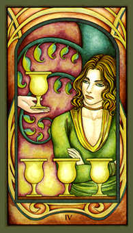 Four of Hearts Tarot Card - Fenestra Tarot Deck