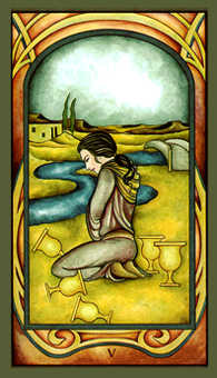 Five of Bowls Tarot Card - Fenestra Tarot Deck