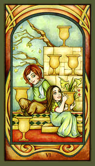 Six of Ghosts Tarot Card - Fenestra Tarot Deck