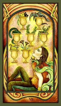 Seven of Hearts Tarot Card - Fenestra Tarot Deck