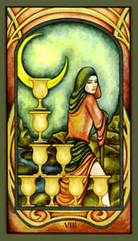 Eight of Bowls Tarot Card - Fenestra Tarot Deck