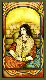 Nine of Bowls Tarot Card - Fenestra Tarot Deck