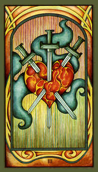 Three of Swords Tarot Card - Fenestra Tarot Deck