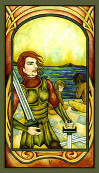 Five of Spades Tarot Card - Fenestra Tarot Deck