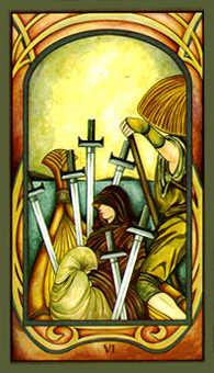 Six of Arrows Tarot Card - Fenestra Tarot Deck