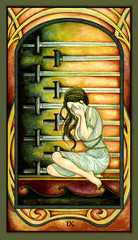 Nine of Arrows Tarot Card - Fenestra Tarot Deck
