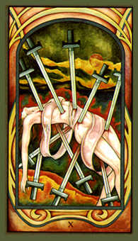 Ten of Bats Tarot Card - Fenestra Tarot Deck
