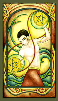 Two of Rings Tarot Card - Fenestra Tarot Deck