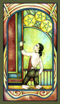Three of Stones Tarot Card - Fenestra Tarot Deck