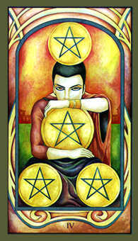 Four of Diamonds Tarot Card - Fenestra Tarot Deck