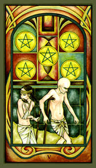 Five of Coins Tarot Card - Fenestra Tarot Deck