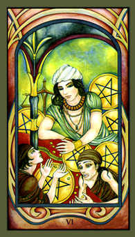 Six of Coins Tarot Card - Fenestra Tarot Deck