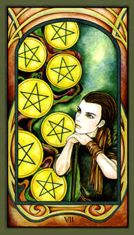 Seven of Pumpkins Tarot Card - Fenestra Tarot Deck