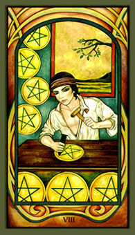 Eight of Coins Tarot Card - Fenestra Tarot Deck