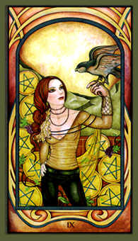 Nine of Coins Tarot Card - Fenestra Tarot Deck