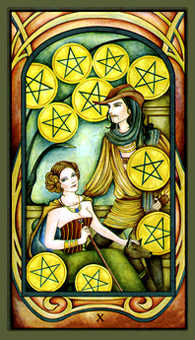 Ten of Pumpkins Tarot Card - Fenestra Tarot Deck