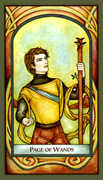 Page of Wands Tarot card in Fenestra deck