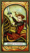 Knight of Swords Tarot card in Fenestra deck