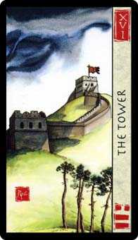 The Falling Tower Tarot Card - Feng Shui Tarot Deck