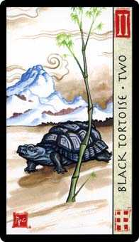 Two of Staves Tarot Card - Feng Shui Tarot Deck