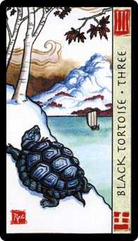 Three of Rods Tarot Card - Feng Shui Tarot Deck