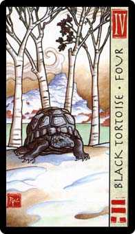Four of Staves Tarot Card - Feng Shui Tarot Deck