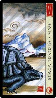 Five of Staves Tarot Card - Feng Shui Tarot Deck