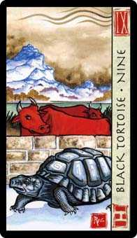 Nine of Batons Tarot Card - Feng Shui Tarot Deck