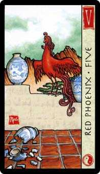 Five of Cauldrons Tarot Card - Feng Shui Tarot Deck